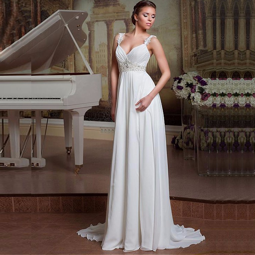 Beach Wedding Dresses Spaghetti Strap Sleeveless Pleats Beading Bride Dress Princess Long Wedding Gowns Boho Bride