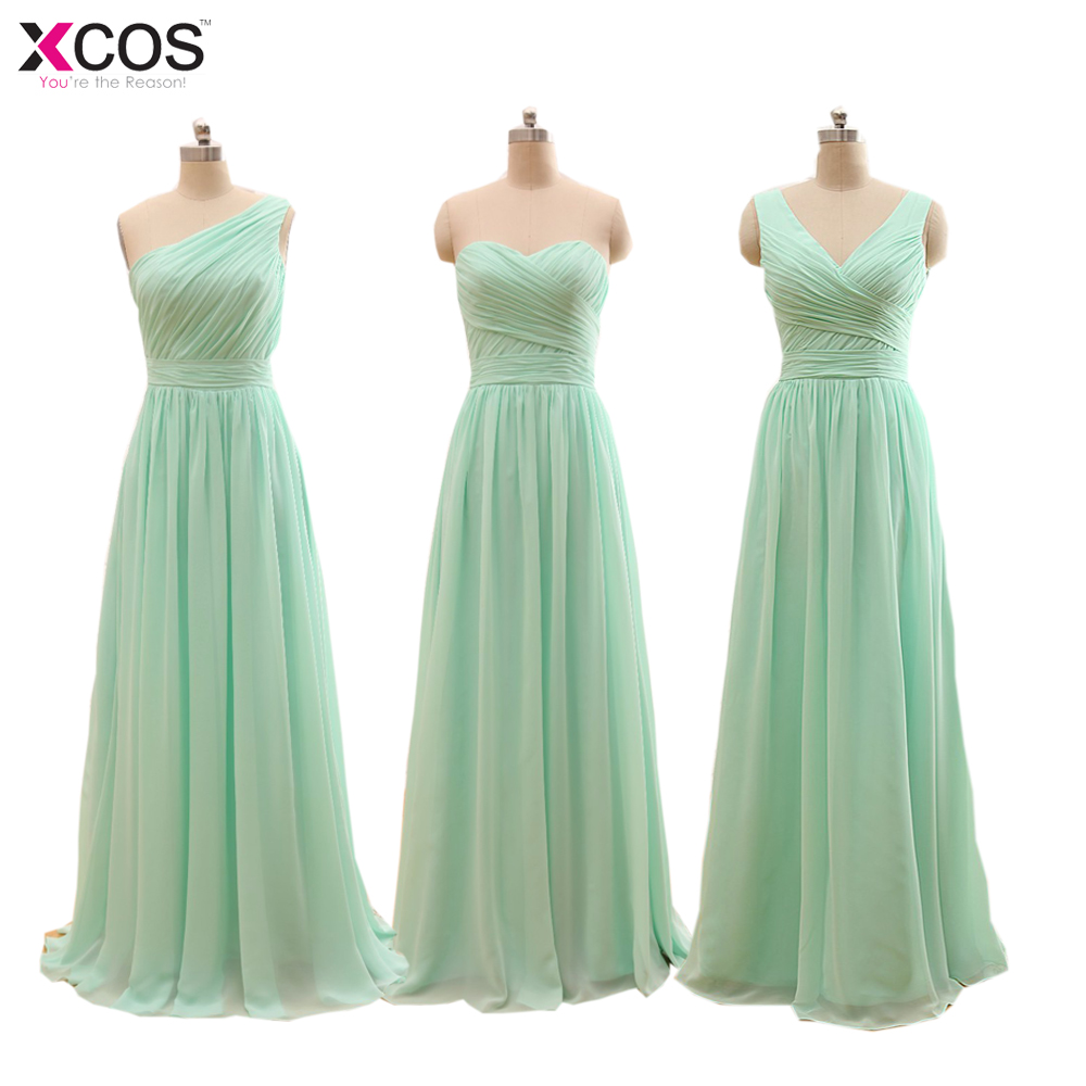Long Cheap Mint Green   Bridesmaid     Dresses   2019 Under 50 Floor Length Chiffon a-Line Vestido De Madrinha De Casamento Longo