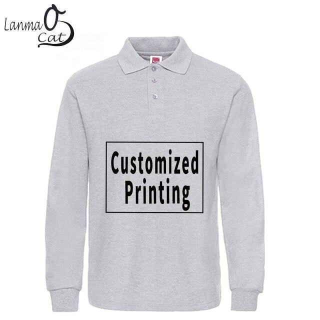 01dd5a8a Lanmaocat Cotton Polo Shirts for Men Custom Print Long Sleeve Polo Shirts  Plus Size Male Cotton Top Shirts 3XL XL Free Shipping