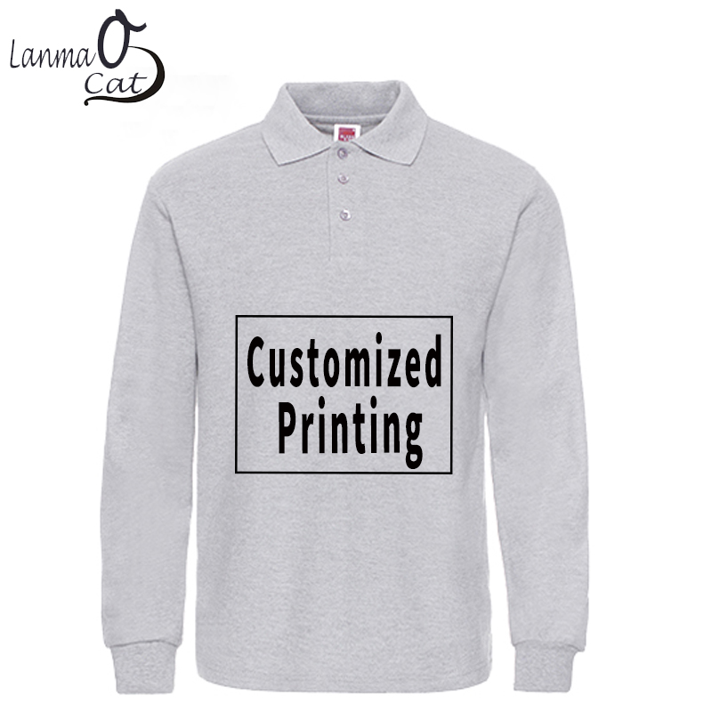 Lanmaocat Cotton   Polo   Shirts for Men Custom Print Long Sleeve   Polo   Shirts Plus Size Male Cotton Top Shirts 3XL XL Free Shipping