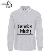 Lanmaocat Cotton Polo Shirts for Men Custom Print Long Sleeve Polo Shirts Plus Size Male Cotton Top Shirts 3XL XL Free Shipping