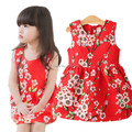 Retail 1 Pcs Kids Clothes baby Girl Dress spring 2016 Sleeveless many red flower design Girls Casual Princess Dress