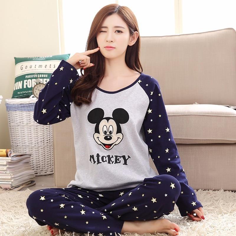 Wholesale   Pajamas     Sets   WAVMIT Spring Autumn Thin Carton Generation Women Long Sleepwear Suit Home Women Gift Female Sleepwear