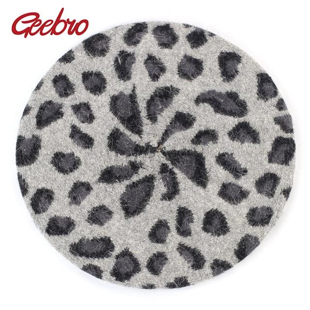 2eb0bdfd04 Com desconto Leopardo das mulheres Boina Chapéu Do Inverno Cashmere ...