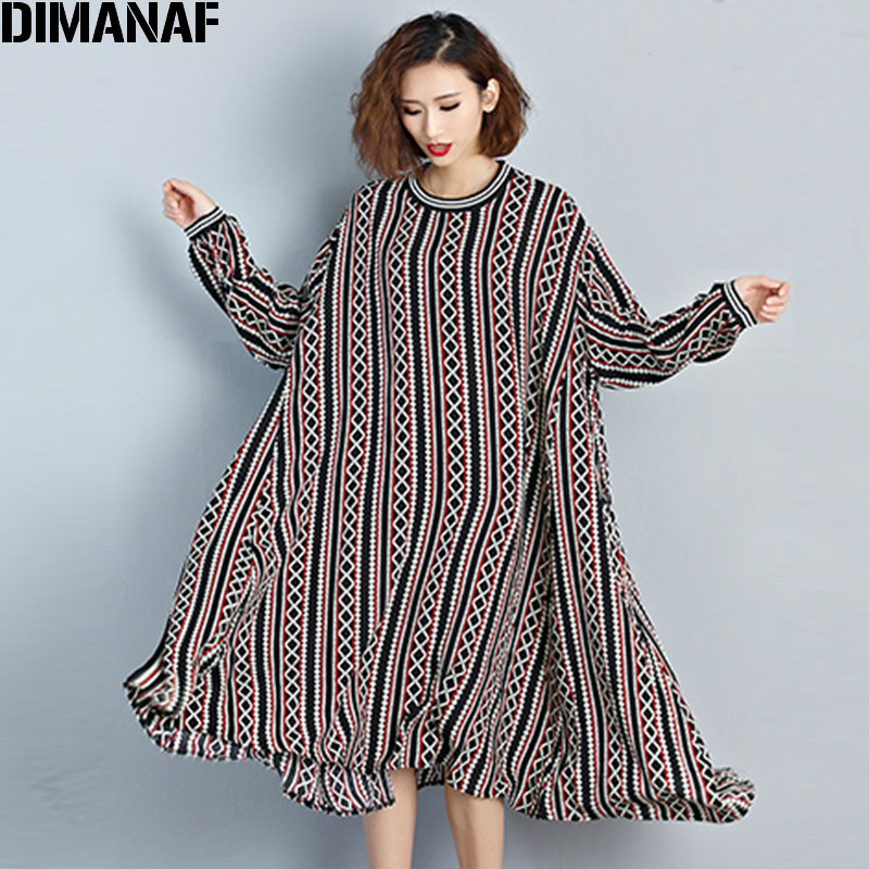 Plus Size Women Dress Autumn Long Sleeve Striped Linen Vintage Comfortable European Casual Dress Big Size Loose 2019 Fat Dress