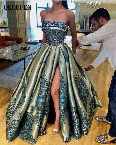 Bustier jupe bouffante robes de soirée 2019 modeste Vintage Sexy Split dentelle tache dubaï arabe volants Occasion robes de bal