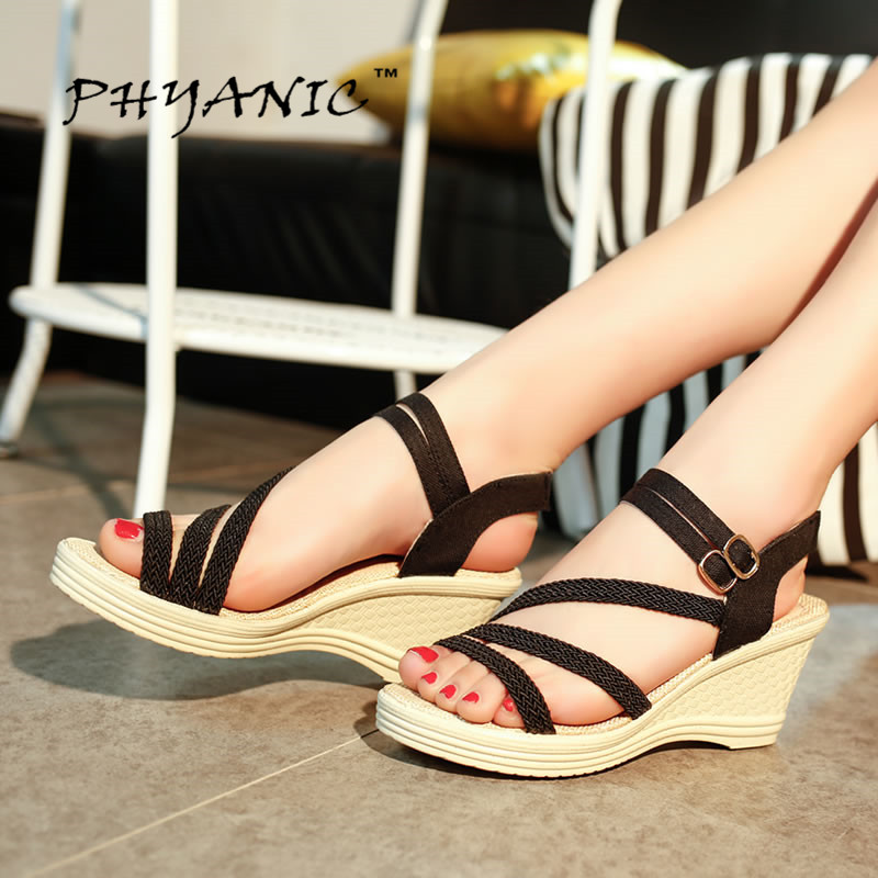 PHYANIC 2017 Summer Flat Sandals Ladies Flip Flops Shoes Gladiator Women Shoes Sandles Slip On Flats Casual Women Shoes Slipper phyanic crystal shoes woman 2017 bling gladiator sandals casual creepers slip on flats beach platform women shoes phy4041