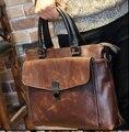 Nueva brown hombres cuero de los hombres de maletín bolsa para el hombre bolsas de mensajero del hombro portátil portafolio de ordenador portátil sacos B00009
