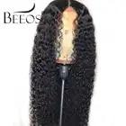 Beeos бразильские волосы Remy кудрявые 13*6 человеческие волосы на кружеве обесцвеченные парики вида шишка пучок глубокий распорный парик предварительно сорвал с волосами младенца для женщин - 1