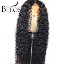 Beeos brasileiro remy encaracolado 13*4 frente do laço perucas de cabelo humano descorado nós profunda peruca de separação pré arrancado com o cabelo do bebê para as mulheres