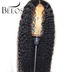 Image 1 - Beeos brasileiro remy encaracolado 13*4 frente do laço perucas de cabelo humano descorado nós profunda peruca de separação pré arrancado com o cabelo do bebê para as mulheres