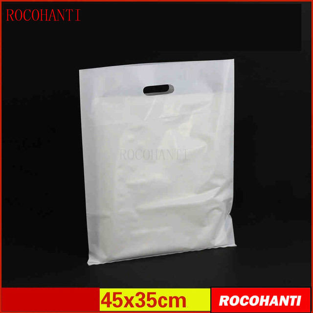 82760109d1 100x Plastic bags custom made clothing bag with hanlde flat shopping bag 45    35CM customized