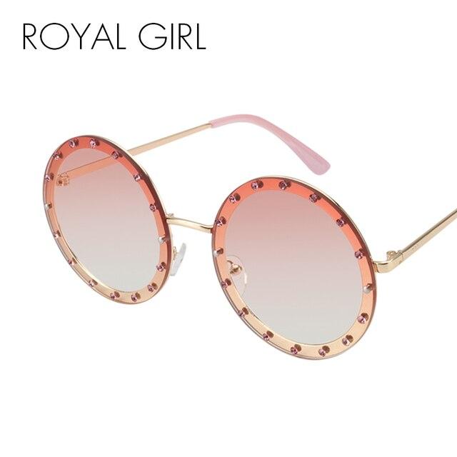 cbb2707f02 ROYAL GIRL lujo de cristal redondo gafas de sol mujer 2018 marca diseñador Rhinestone  gafas de