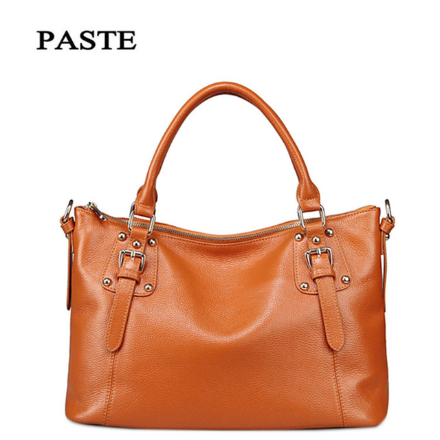 PASTE Brand 100% Genuine leather Women Handbag Luxury For Women Vintage Famous Brands Designer Handbags High Quality Tote Bag