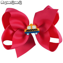 5 Inch Girls Back To School Hairbow Handmade Bus Hairclips Grosgrain Ribbon Hair Bows For Kids Accessories