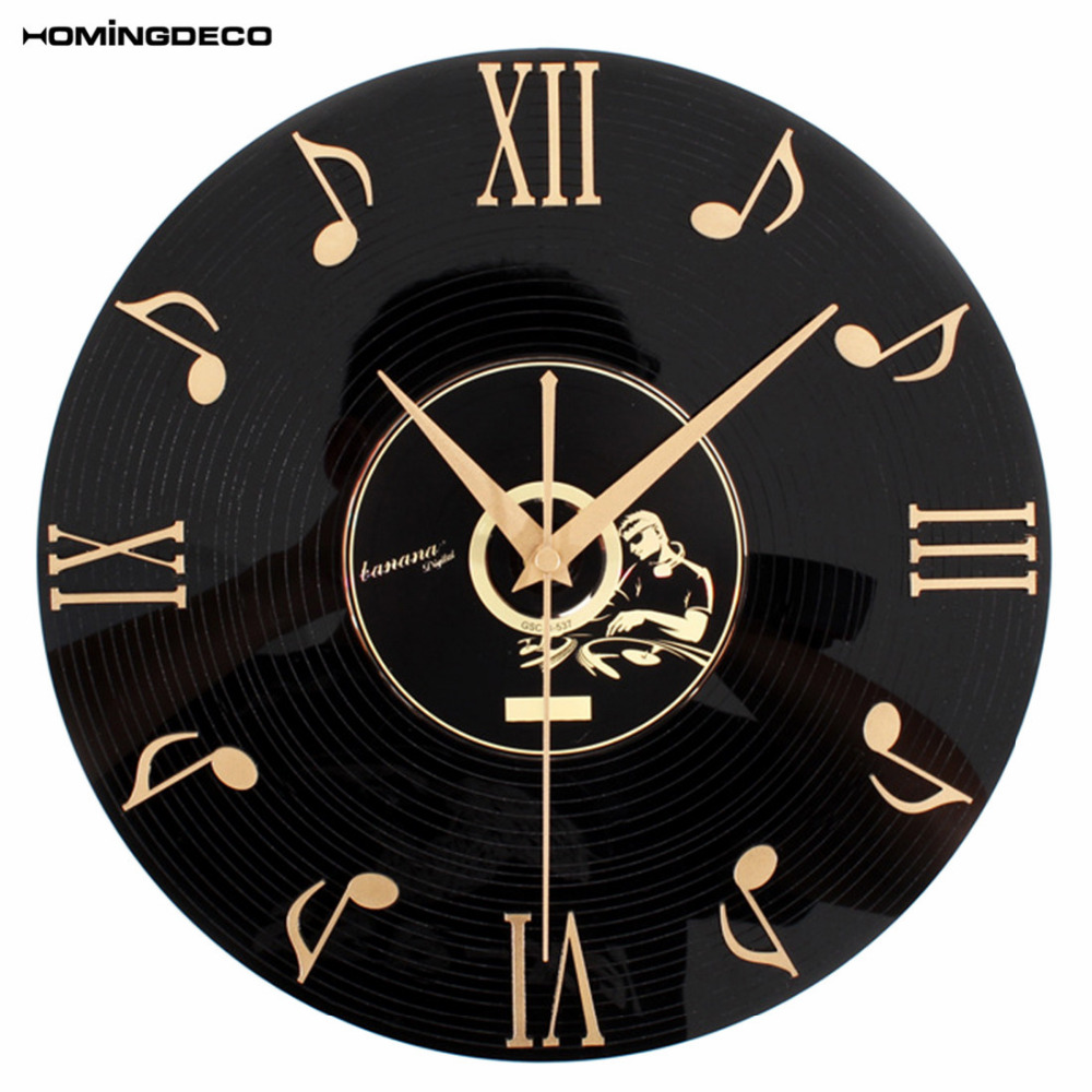 Homingdeco Creative Retro Wall Clock Music Notes  Vinyl CD Album Hanging Clock Black Living Room Home Bedroom Cafe Decor