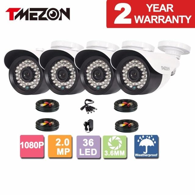 Tmezon 4Pack 2MP 1080P AHD CCTV Camera 3.6mm  Len Security Bullet Outdoor Waterproof 36Led IR Night Vision Camera