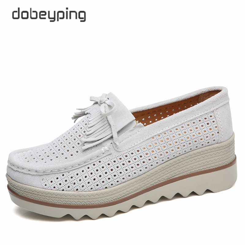 dobeyping Fringe Summer Shoes Woman Suede Leather Casual Women Flat Platform Womens Loafers Moccasins Swing Female Shoe