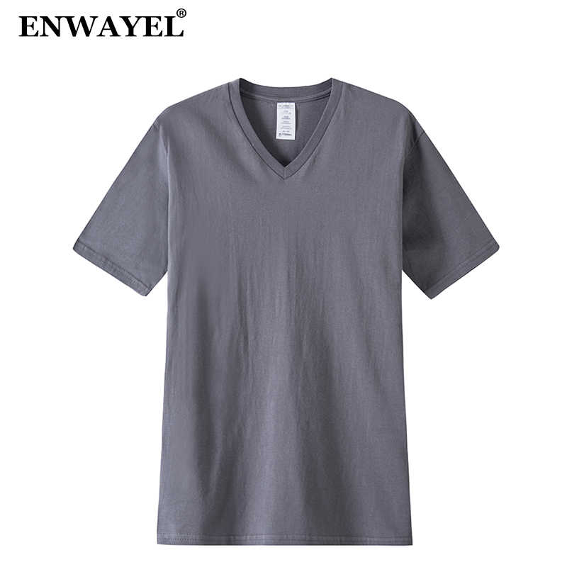 ENWAYEL 2018 Summer V-Neck Solid 100% Cotton Casual T Shirt Men Short Sleeves Loose Tshirt Mens Top Tee Quality T-Shirt Male