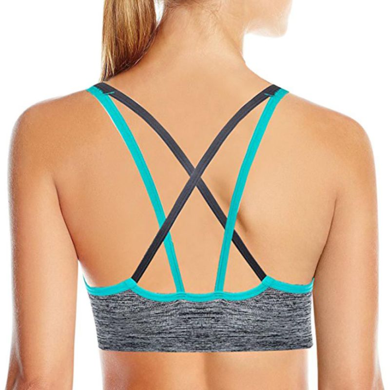 ed47d918a1 2019 Women Strappy Back Sports Bra Wireless Low Support Padded Yoga ...