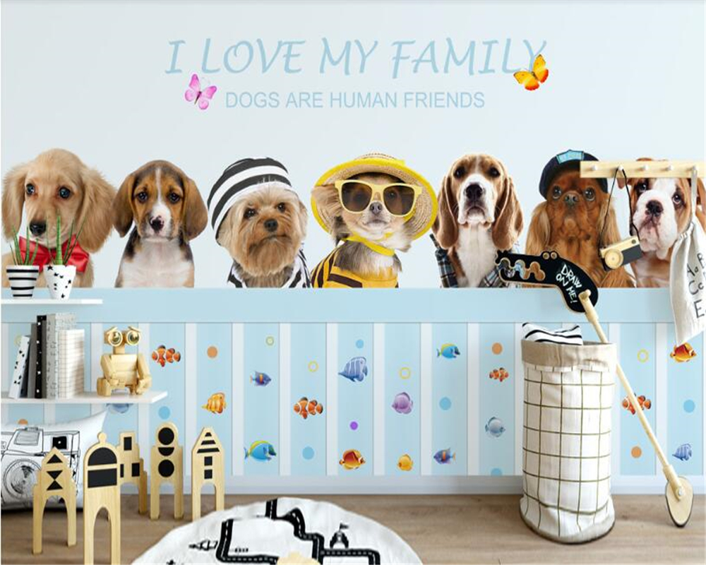beibehang wallpaper for walls 3 d HD cute dog child room background wall sticker decoration wallpaper papel de parede adesivo beibehang wallpaper green environmental protection solid color gray blue hotel hotel background wallpaper 3 d papel de parede