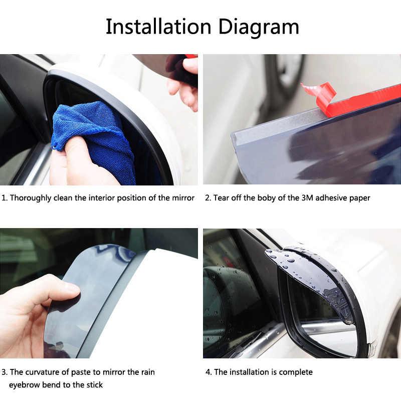 Tampilan Belakang Mobil Cermin Stiker Hujan Alis Weatherstrip untuk Resah Memberikan Vesta Kalina Priora Niva Xray Largus Opel Astra J zafira