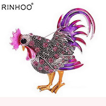 Trendy big gallo broch monili di modo Multicolore di cristallo Del Rhinestone spille femminile Spille animali per le donne hot vela(China)