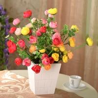 vase/ The flowers set 18 tea camellia tea rose bud wood squares floral suit suit artificial flowers cheap quality Flowers