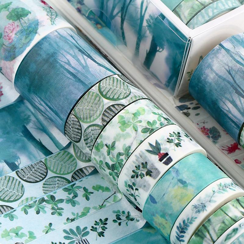 10Pcs/Set Cute Plant Leaves Washi Tape Kawaii Flower Masking Tape Whale Decorative Tape For Sticker Scrapbooking DIY Photo Album 4