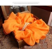 Bufandas de seda de las mujeres orange amarillo de gran tamaño bufanda de invierno cálido 100% de seda pura colgante cuadrado de lujo diseñador hiyab mantón largo