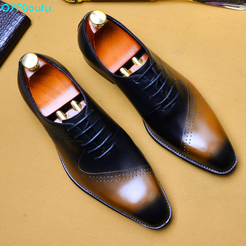 Italianos de Luxo Dedo do pé Qyfcioufu Homens Vestido Sapatos Couro Genuíno Quadrado Escritório Designer Casamento Moda Clássica Oxford Eua 11.5