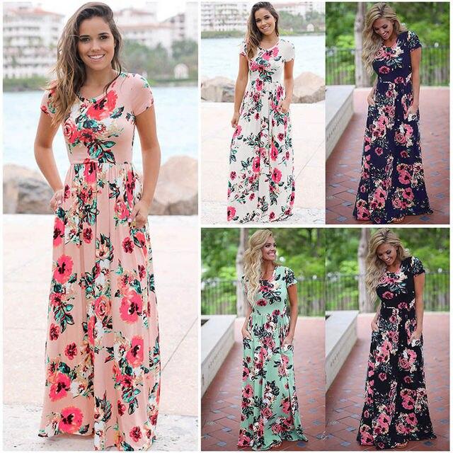 S-3XL Elegant Women Robe Summer 2018 Short Sleeve Printed Maxi Dress Fashion Sexy Boho Dress Tighten Waist Long Dress Vestidos 1