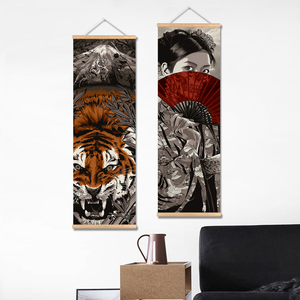 Image 2 - Japan Samurai Vintage Poster and Prints Scroll Painting Canvas Wall Art Pictures Living Room Bedroom Farmhouse Decoration