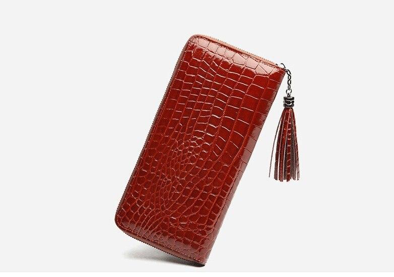 Prawdziwej skóry krowy skóra krokodyla wzór damska długa torebka stałe portfel na zamek posiadacz karty w Portfele od Bagaże i torby na  Grupa 2