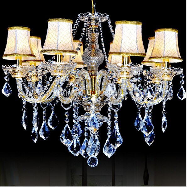 Fast Shipping 8 Bulbs European Candle Modern Crystal Chandelier Ceiling Bedroom Living Room Hotel Decor Light Fixture E14 Lamp modern crystal chandelier led hanging lighting european style glass chandeliers light for living dining room restaurant decor