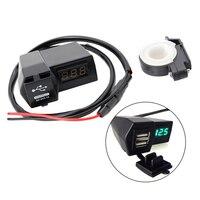 2 USB دراجة نارية شاحن مقبس الطاقة مع الأخضر LED الجهد الفولتميتر 3.1A-في الكابلات والمحوّلات والمقابس من السيارات والدراجات النارية على