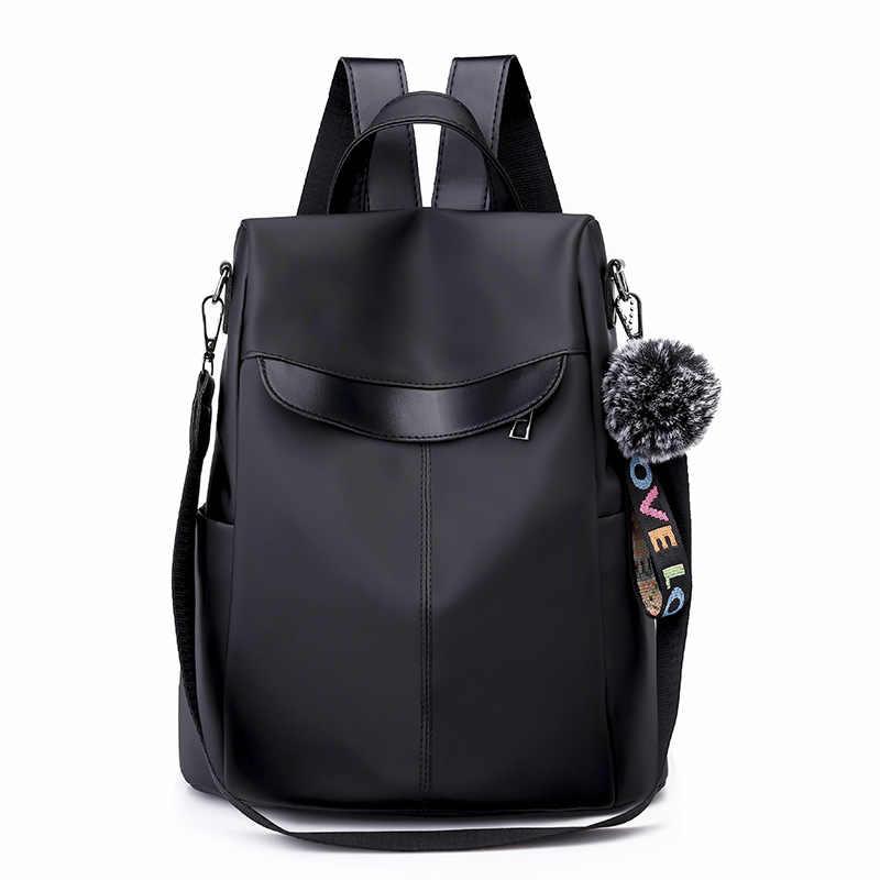 2019 Модный женский рюкзак для путешествий Черный Хаки Противоугонная сумка ткань Оксфорд большой емкости рюкзак для женщин шоппинг