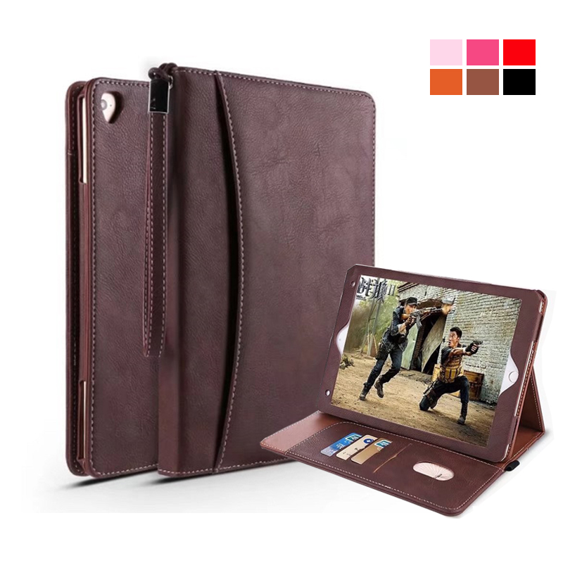 for ipad pro 9.7 Case Smart PU Leather Sleeve for ipad air 2 air 1 Case Retro Folio Stand Tablet Case Cover Card Slots
