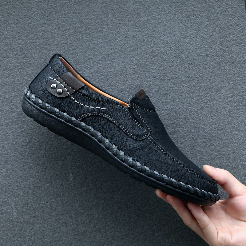 Color : Black, Size : 6.5 D HONGkeke Mens Business Classic Genuine Leather Work Shoes Casual Dress Wedding Flat Anti-Slip Loafers Durable M US