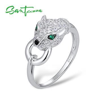 Santuza серебряное кольцо с пантерой для женщин, Настоящее серебро 925 пробы, креативное кольцо с кубическим цирконием, вечерние ювелирные издел... >> SANTUZZA Official Store