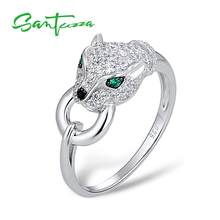 SANTUZZA Silver Panther Ring For Women Pure 925 Sterling Silver Creative Ring Cubic Zirconia Rings кольцо Party Fashion Jewelry(China)