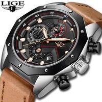 Relogio Masculino LIGE часы Мужская Мода кварцевые кожа Хронограф Часы Для мужчин s часы лучший бренд класса люкс Водонепроницаемый спортивные часы