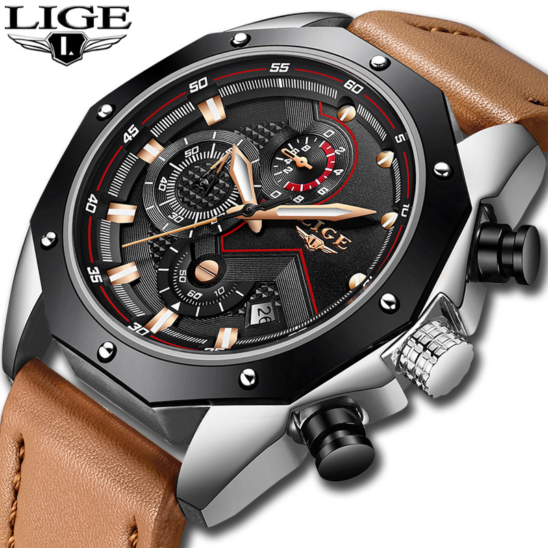 купить Relogio Masculino LIGE Watch Men's Fashion Quartz Leather Chronograph Clock Mens Watches Top Brand Luxury Waterproof Sport Watch по цене 1978.59 рублей
