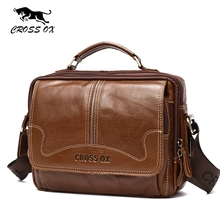 CROSS OX Men Bag Genuine Leather Handbag Male Fashion Bag Cow Leather Flap Bag Vintage Business Small Briefcase SL407M