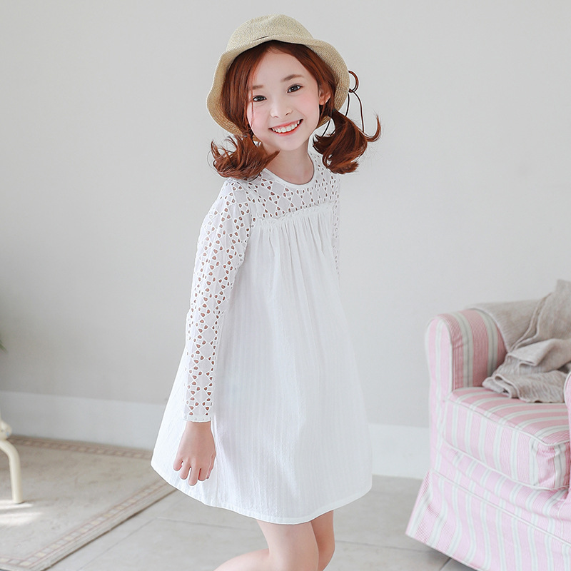 Girl Princess Dress Kids Autumn Thin Evening Dresses White Long Sleeve Pleated Baby Girls Dress For