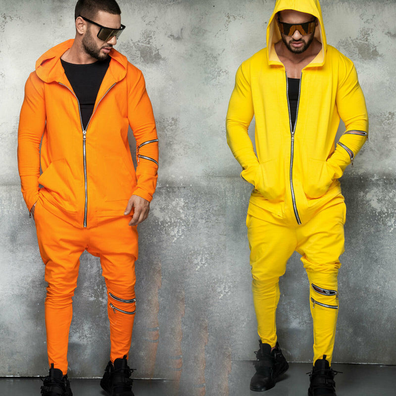 2 Pieces Sets Tracksuit Men Sportwear Autumn Winter Hooded Zipper Sweatshirt Coat + Straight Pants Male Stripe Patchwork Hoodies