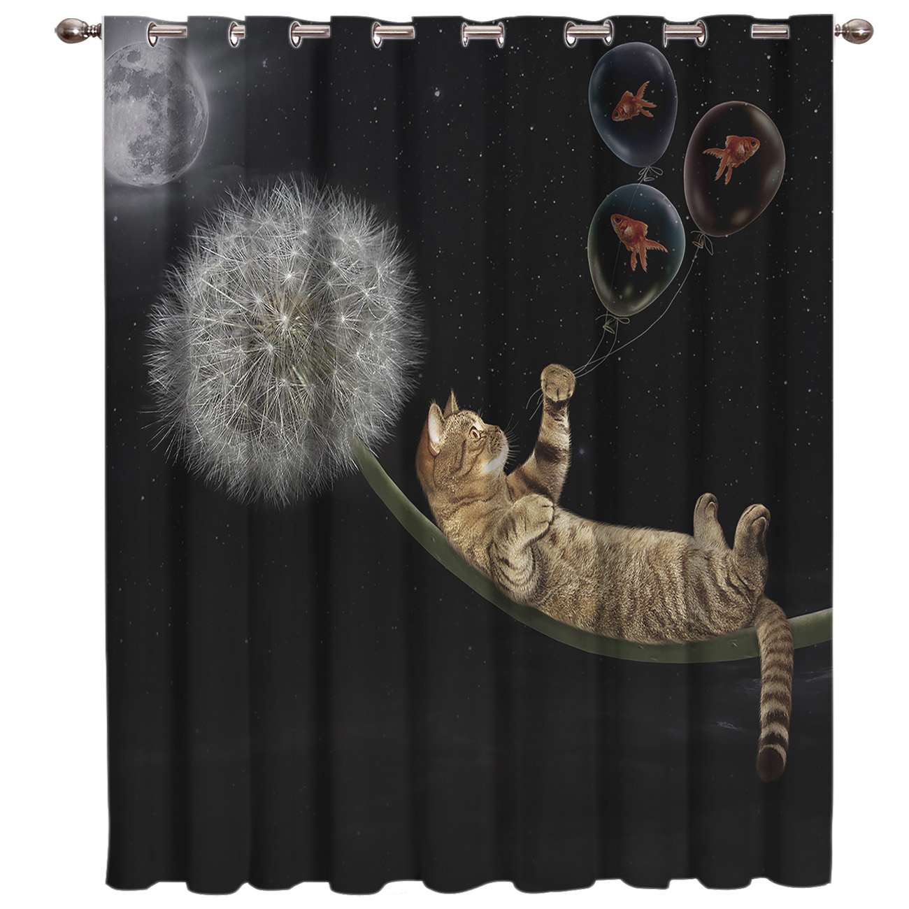 Dandelion Cat Room Curtains Large Window Living Room Decor Fabric Curtain Panels With Grommets Party Decoration Window