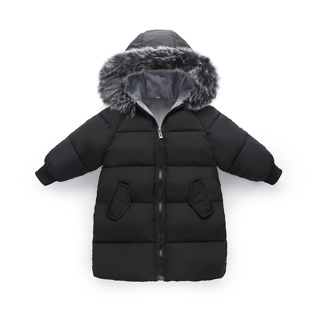 Get Discount Price Children Girl Jackets Winter Down Coat Jacket for Girl Fashion Children Fur Hooded Thick Cotton Down Warm Solid Kid Parka Jacket