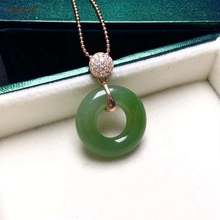 Certified Natural Hetian Jade Jasper Inlaid 925 Sterling Silver Lucky Peace Buckle Pendant Green High Quality Best Gifts