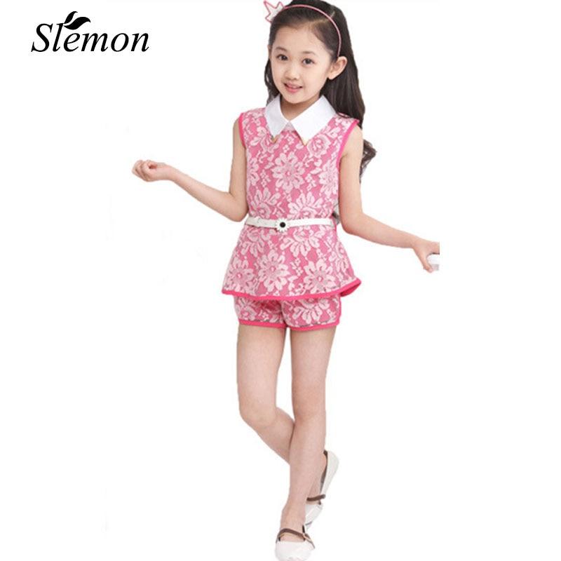 2018 Summer Children's Clothing Girls Lace Formal Suit Lapel Vest + Shorts + Belt 3 Pieces Set Kids Child 3 5 7 9 10 12 13 Years